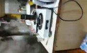 Решила разжечь печь с помощью бензина.