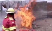 Тушение пожара пошло не по плану.