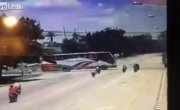 При буксировке автобуса погибли три мотоциклиста.