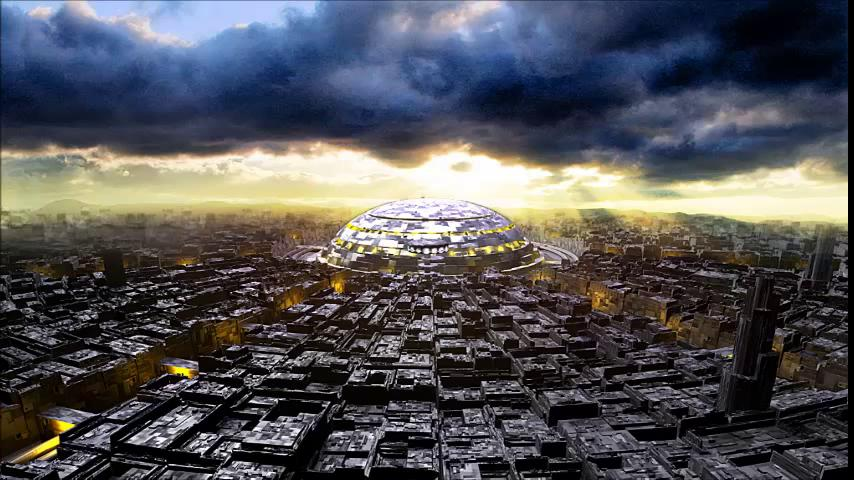 Вид с птичьего полёта на столицу планеты Торманс — город Средоточия Мудрости