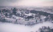 Зимняя, заснеженная, красивая Москва, аэросъемка