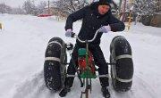 Снегоход - Вездеход из велосипеда, бензопилы и камер от камаза