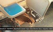 Канализационный люк пробил пол в автобусе