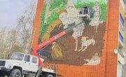 Роспись фасада ко Дню Победы