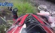 Close Call W Train While Riding Bike On Tracks